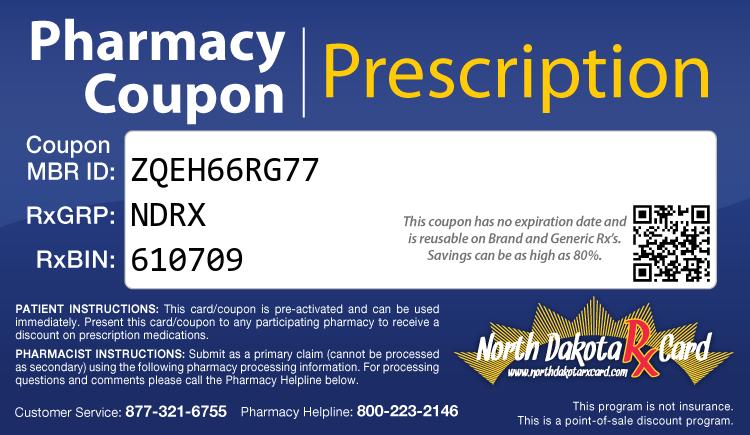 North Dakota Rx Card - Free Prescription Drug Coupon Card